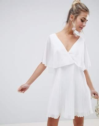 Asos Design DESIGN mini dress with pleat skirt and flutter sleeve