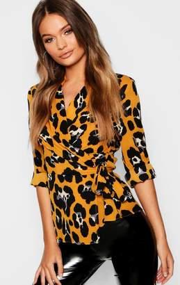 boohoo Wrap Leopard Shirt