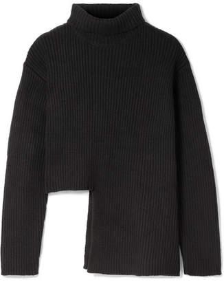 Ellery Vallauris Asymmetric Merino Wool-blend Turtleneck Sweater - Black