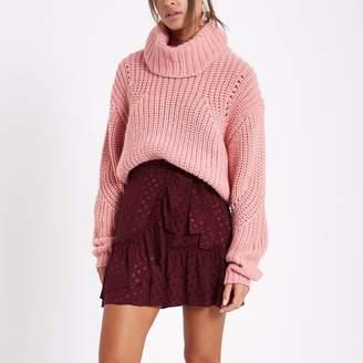 River Island Womens Dark Red spot jacquard frill wrap mini skirt