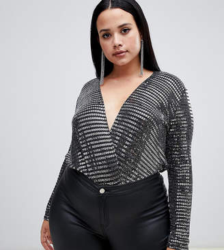 Asos Flounce London Plus plunge front bodysuit in silver