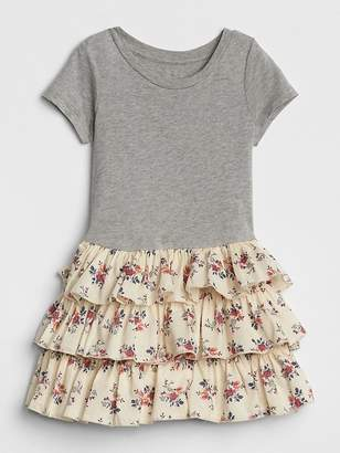 Gap Floral Tiered Mix-Fabric Dress