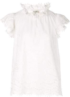 Sea lace-trim blouse