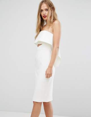 Forever New Strapless Midi Dress with Orgami Frill