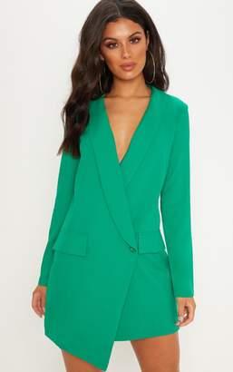 PrettyLittleThing Green Asymmetric Hem Oversized Blazer Dress