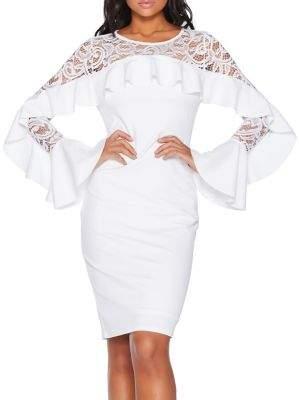 Quiz Bell-Sleeve Lace Sheath Dress