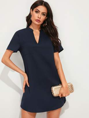 Shein V-cut Neck Patch Pocket Tunic Dress