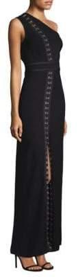 Yigal Azrouel One-Shoulder Hook-&-Eye Silk Gown