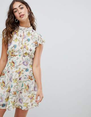 Glamorous High Neck Dress In Watercolour Floral