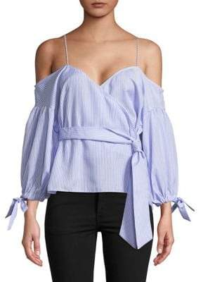 Saylor Penelope Striped Poplin Wrap Top