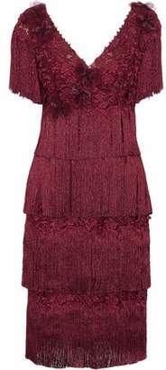 Marchesa Fringed Tiered Appliqud Embroidered Tulle Dress