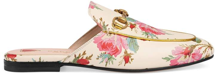 Princetown rose print leather slipper