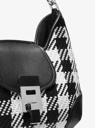 Michael Kors Bancroft Medium Gingham Woven Calf Leather Shoulder Bag