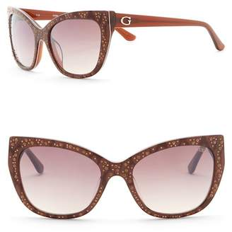 GUESS 54mm Crystal Accented Cat Eye Sunglasses