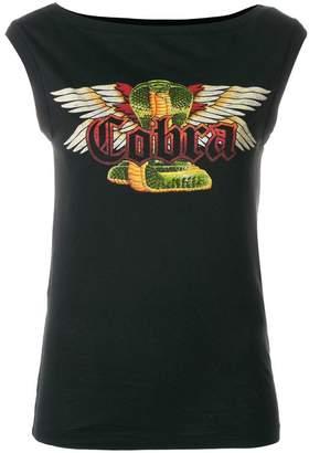 DSQUARED2 Cobra print cap sleeve top