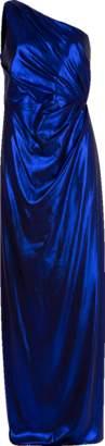 Marchesa One Shoulder Draped Lamé Gown