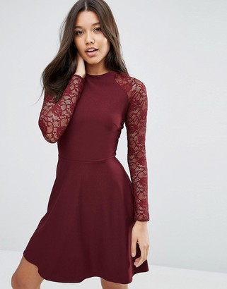 ASOS Skater Dress with Lace Sleeves $49 thestylecure.com