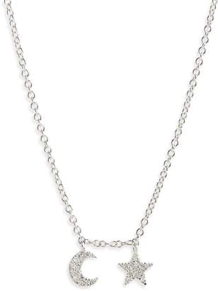 Meira T Moon and Star Diamond Pave Charm Necklace