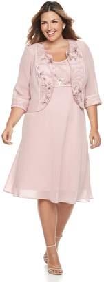 Le Bos Plus Size Floral Embroidered Dress & Jacket Set