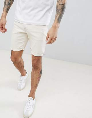 Selected Denim Shorts In White