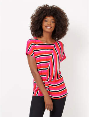 George Pink Striped Tie Front Top
