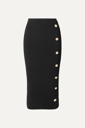Balmain Button-embellished Jacquard-knit Midi Skirt - Black