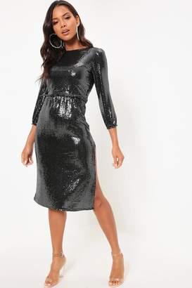 I SAW IT FIRST Black Sequin Long Sleeve Side Split Midi Dress