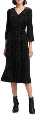 DKNY Velvet Leopard-Print Midi Dress