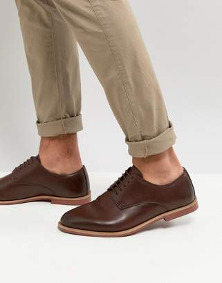 Asos Design Derby Shoes In Brown Faux Leather With Contrast Sole
