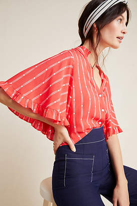 Maeve Aveiro Flutter-Sleeved Buttondown