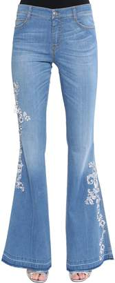 Ermanno Scervino Flared Lace Embroidered Denim Jeans