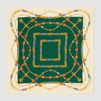 Gucci Silk scarf with GG jewels print