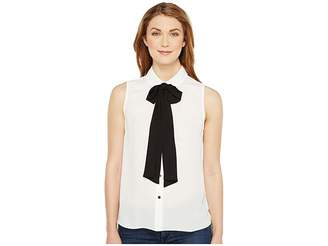 CeCe Sleeveless Collared Blouse w/ Bowtie