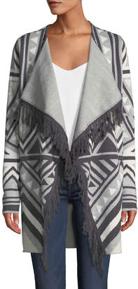 Marled by Reunited Clothing Fringe-Trimmed Geometric-Jacquard Cardigan