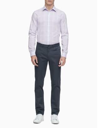 Calvin Klein Slim Fit Violet Plaid Performance Non-Iron Dress Shirt
