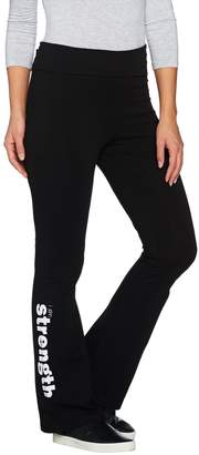 Peace Love World Bootcut Knit Yoga Pants with Foldover Waist