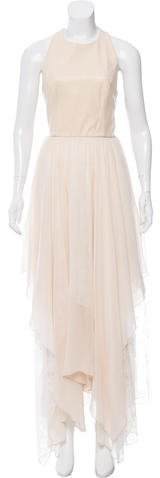 Alice + OliviaAlice + Olivia Lace-Accented Leather-Paneled Dress w/ Tags