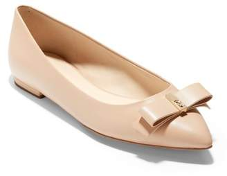 Cole Haan Elsie Leather Bow Skimmer Flat