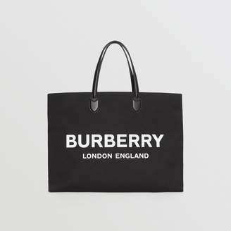 Burberry Logo Detail Cotton Blend Tote