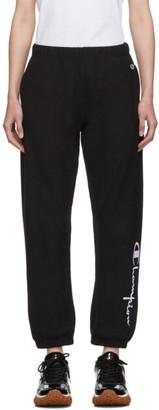 Champion Reverse Weave Black Big Script Elastic Cuff Lounge Pants