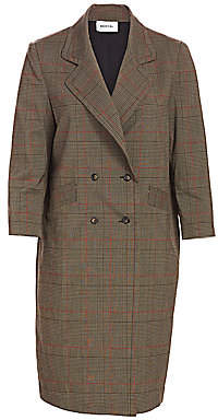 Baacal, Plus Size Women's Davis Wool Plaid Double Breasted Car Coat