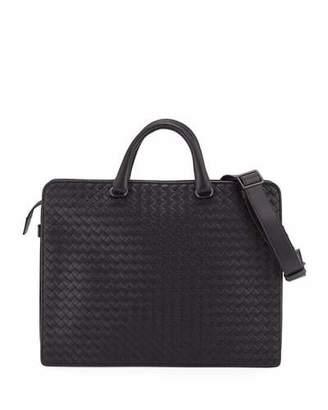 Bottega Veneta Intrecciato Calf Leather Briefcase, Black