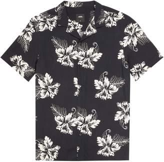 Dorothy Perkins Womens **Burton Short Sleeve Black Ecru Orchid Printed Shirt