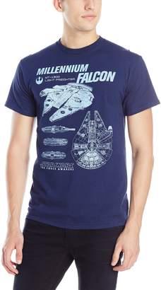 Star Wars Men's The Force Awakens Millenium Falcon Flies Schematic T-Shirt