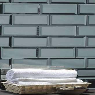 "Abolos- Echo 3"" x 12"" Mirror Glass Mosaic Peel & Stick Backsplash Tile in Graphite (14sqft - 14sheets)"