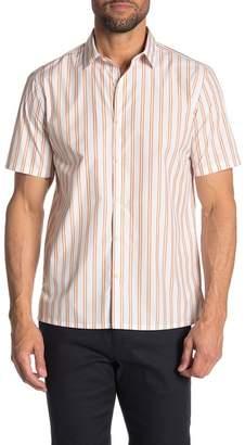 Theory Murrary Stripe Short Sleeve Standard Fit Shirt
