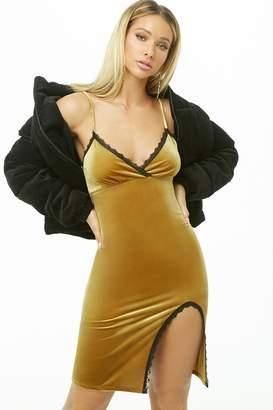 Forever 21 Lace-Trim Velvet Dress