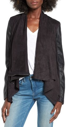 Women's Blanknyc Mixed Media Faux Leather Drape Front Jacket $98 thestylecure.com