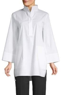 Lafayette 148 New York Stand Collar Step Hem Tunic