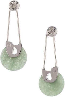 Alexander Wang Safety Pin Earrings in Jade & Silver | FWRD